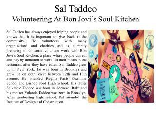 Sal Taddeo - Volunteering At Bon Jovi's Soul Kitchen