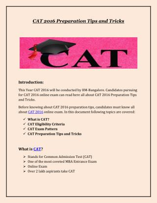 Cat 2016 Preparation Tips and Tricks