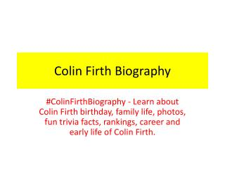 Colin Firth Biography | Biography of Colin Firth