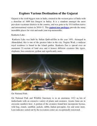 Explore Various Destination of the Gujarat
