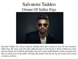 Salvatore Taddeo - Owner Of Sallee Figs