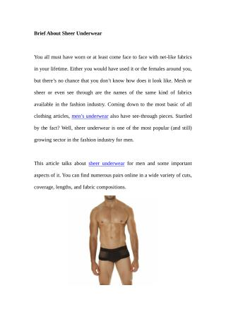 Brief About Sheer Underwear