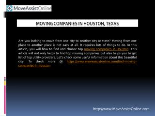 List of Top Moving Companies in Houston