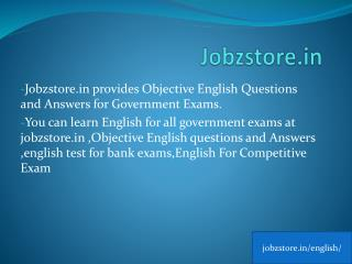 Objective English Questions and Answers for Governmet Exams | JobzStore