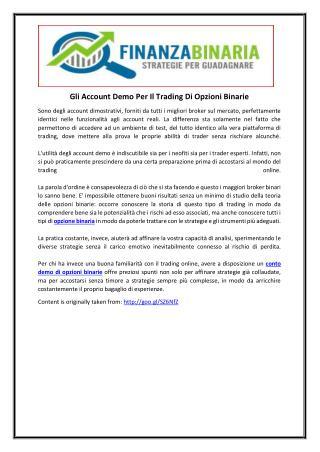 Gli Account Demo Per Il Trading Di Opzioni Binarie