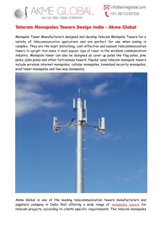 Telecom Monopoles Towers Design