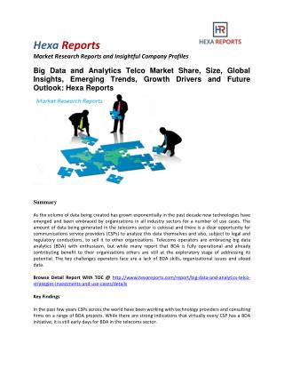 Big Data and Analytics Telco Market Share, Size, Global Insights and Future Outlook