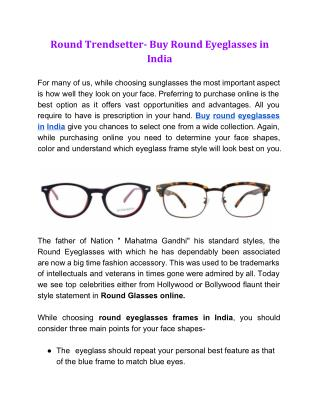 Round Trendsetter- Buy Round Eyeglasses in India
