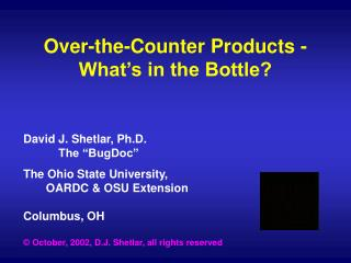 Over-the-Counter Products - What s in the Bottle