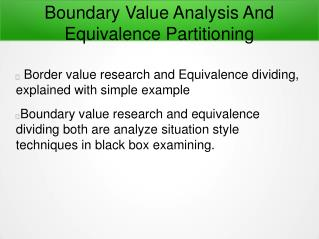 Boundary Value Analysis And Equivalence Partitioning In Software Testing