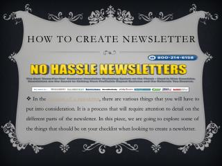 How To Create Newsletter