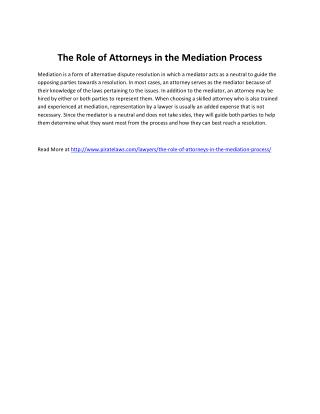 The Role of Attorneys in the Mediation Process