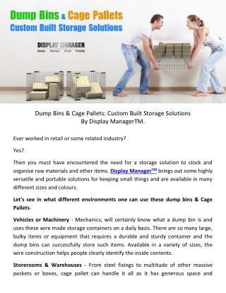 Dump Bins & Cage Pallets - Custom Built Storage Solutions
