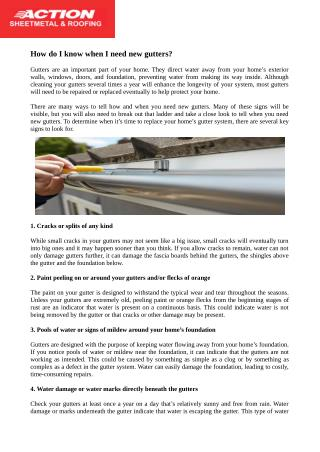 How to Tell if Your Home Needs New Gutters