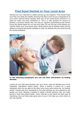 Find Good Dentist in Your Local Area.pdf