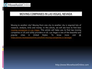 List of Moving Companies in Las Vegas