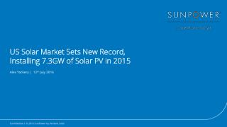 US Solar Market Sets New Record, Installing 7.3GW of Solar PV in 2015