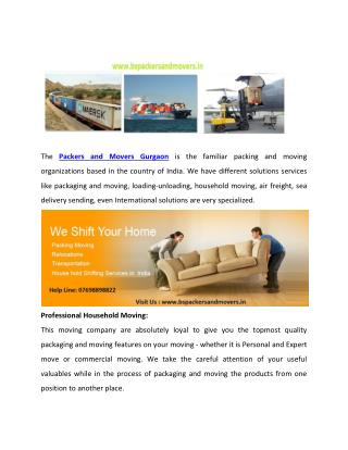 Reliable business of Packers and Movers in Gurgaon