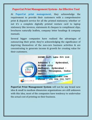 PaperCut Print Management System- An Effective Tool