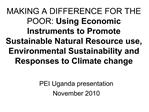 MAKING A DIFFERENCE FOR THE POOR: Using Economic Instruments to Promote Sustainable Natural Resource use, Environmental