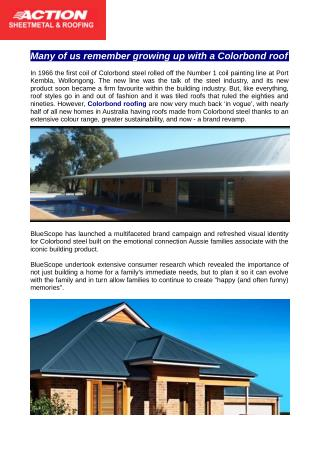 Colorbond Roofing available from Action Sheet Metal