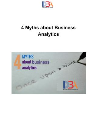 4 Myths about Business Analytics