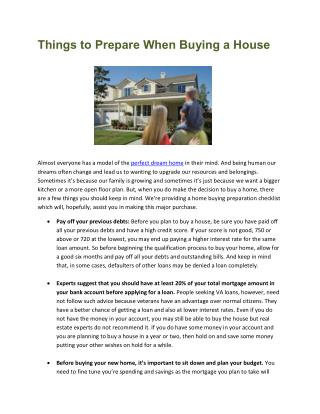 Things To Prepare When Buying A House