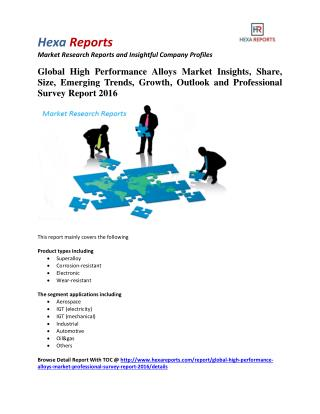 Global High Performance Alloys Market Insights, Growth and Professional Survey Report 2016: Hexa Reports