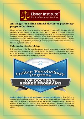 An insight of online clinical doctor of psychology program California