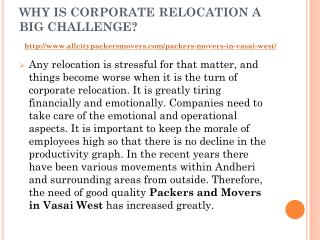 Why is corporate relocation become easy with All City Packers and Movers in Vasai West?