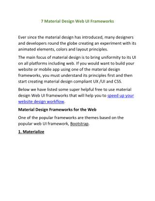 7 Material Design Web UI Frameworks