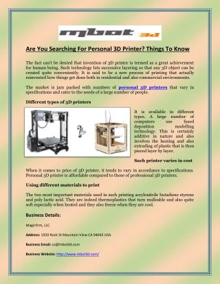 Are You Searching For Personal 3D Printer? Things To Know