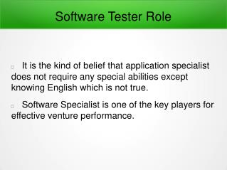 Software Tester Role In Details