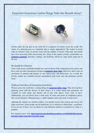 Exquisite Gemstone Ladies Rings Take the Breath Away!