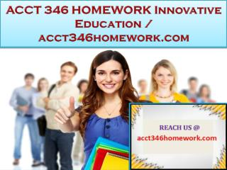 ACCT 346 HOMEWORK Innovative Education / acct346homework.com