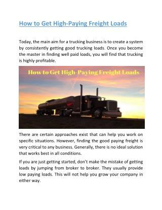 How to Get High-Paying Freight Loads