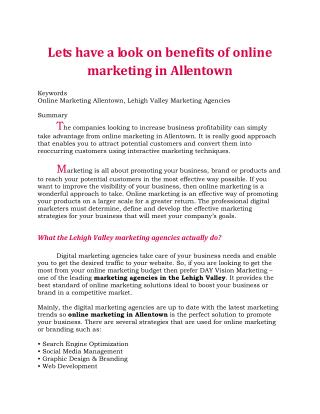 Lets have a look on benefits of online marketing in Allentown