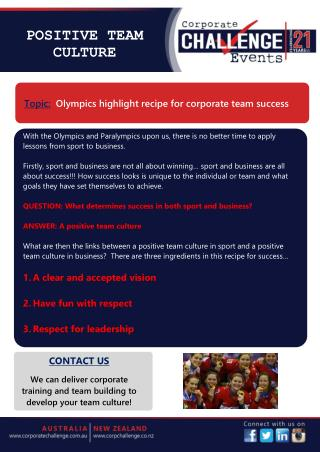 Olympics highlight recipe for corporate team success
