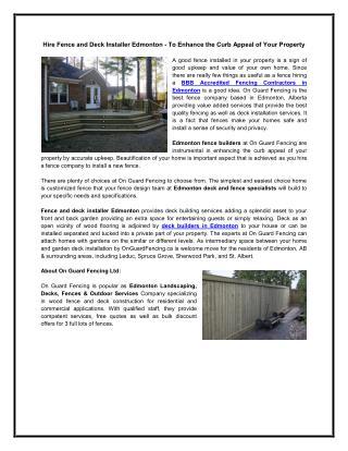 Hire Fence and Deck Installer Edmonton