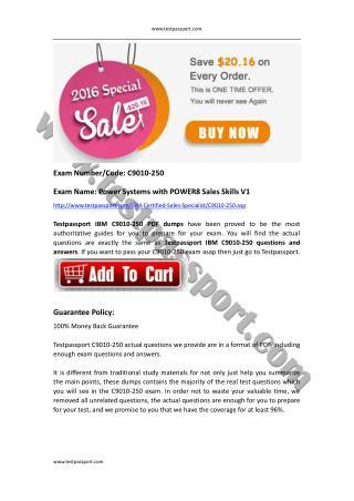 Testpassport IBM Certified Sales Specialist C9010-250 test questions.pdfIBM Certified Sales Specialist C9010-250 test qu