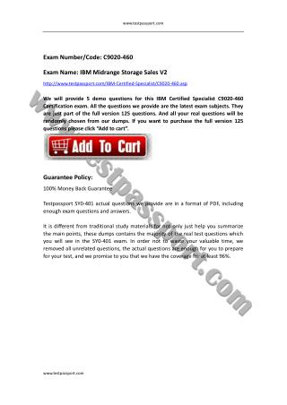 Testpassport IBM Certified Specialist C9020-460 test questions