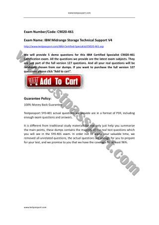 Testpassport IBM Certified Specialist C9020-461 test questions