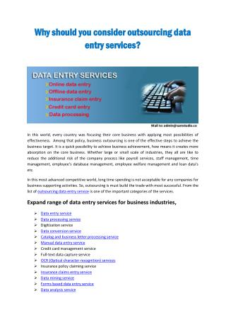 Why should you consider outsourcing data entry services?