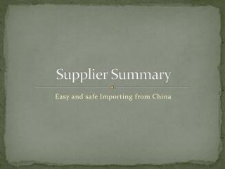 Easy and Safe Importing from China