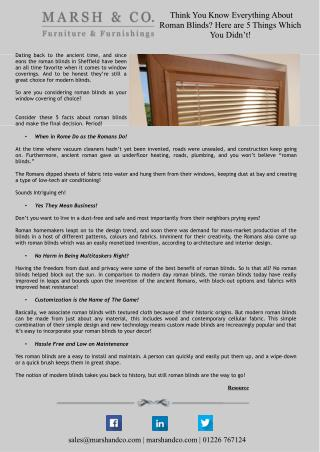 Think You Know Everything About Roman Blinds? Here are 5 Things Which You Didn�t!