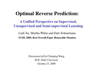 Optimal Reverse Prediction: