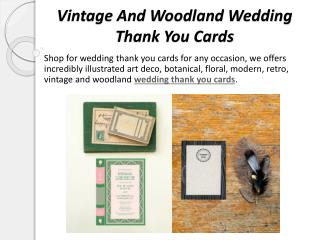 Vintage and Woodland Wedding Thank You Cards