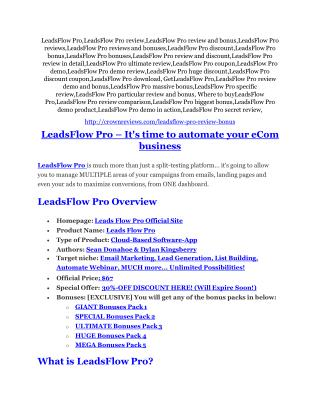 LeadsFlow Pro review and LeadsFlow Pro $11800 Bonus & Discount