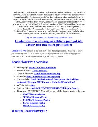 LeadsFlow Pro review and (FREE) $12,700 bonus-- LeadsFlow Pro Discount