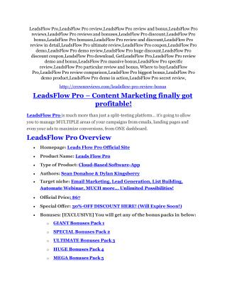 LeadsFlow Pro review and $26,900 bonus - AWESOME!
